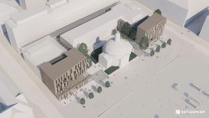 Vy ovanifrån av en arkitektbyrås vision av Salutorget i Åbo.