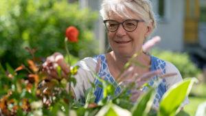 Kukkakauppias Marianne Nordström, Loviisa, kimppu kädessään