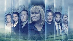 Sarjan yleiskuva, sinisävyinen kollaasikuva jossa kaikki sarjan päähahmot.