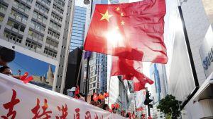 Liten demonstration firar nya nationella säkerhetslagen för Hongkong.