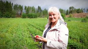 Pirjo Holmén, en dam med ljust hår och en ljus jacka, står på en odling med en jordgubbe i handen.