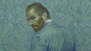 Vincent van Goghin sinisävyinen muotokuva maalattuna. Elokuvan markkinointikuva.