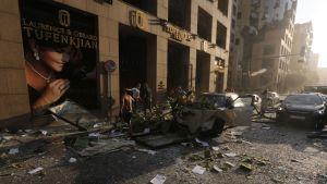 Explosionen orsakade omfattande materiella skador i stadens centrum.