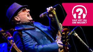Van Morrison har hatt och solglasögon, saxofon kring halsen och sjunger i en mikrofon som är i en mikrofonställning..