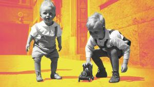 Kaksi lasta leikkii puuautolla.