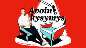 Graafinen kuva, jossa Olli Seuri istuu nojatuolissa, toinen tyhjä nojatuoli vieressä. Punainen tausta, jossa lukee Avoin kysymys.