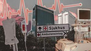 Ett kollage. I mitten en skylt där det står sjukhus. Runt omkring bilder på sjukhus, en påse med dropp och en sjukhussäng.