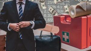 Ett kollage. Till vänster ser vi en man i kostym. Till höger en första hjälpen-låda. I bakgrunden pengar.
