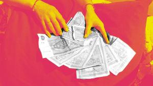 Punakeltaisella taustalla mustavalkoiset kädet levittelevät vanhoja rahoja