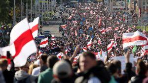Av bilder att döma så verkar åtminstone tiotusentals människor ha slutit upp också för söndagens demonstrationståg i Minsk.