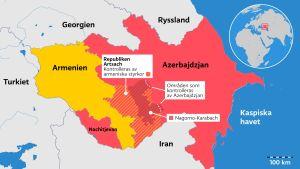 Karta över Nagorno-Karabakh och konfliktområdet mellan Armenien och Azerbajdzjan.