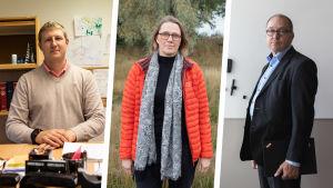 Collagefoto av Sunds kommundirektör Andreas Johansson, Katarina Donning och Pekka Rehn.