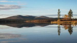 Sjölandskap i Urho Kekkonens nationalpark.