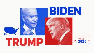 Illustration av presidentkandidater Joe Biden och Donald Trump.