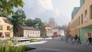 En skiss av ett torg nära Åbo slott