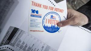 röstsedel för amerikanska presidentvalet 2020
