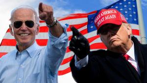 Bildmontage av tre bilder. I bakgrunden syns USA:s flagga. Till vänster Joe Biden och till höger Donald Trump.