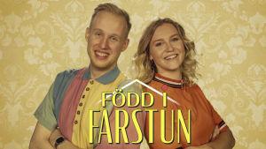 Simon Karlsson och Märta Westerlund i pastellfärgade kläder från nittiotalet.