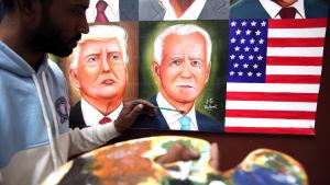 Den indiske gatukonstnären Jagjot Singh Rubal i Mumbai färdigställde på söndagen sin målning som föreställer de 46 presidenterna i USA, inklusive Joe Biden.