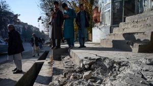 Söndriga stentrappor efter explosioner i Kabul 21.11.2020