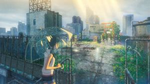 Kohtaus elokuvasta Weathering with you. Toinen päähenkilö seisoo sateisella ja ränsistyneellä kattoterassilla ja katsoo porttia, johon paistaa aurinko.