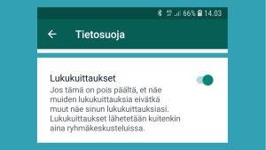 Kuvakaappaus WhatsAppista: Lukukuittaukset päällä Androidissa.