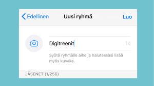 Kuvakaappaus WhatsAppista: Uuden ryhmän perustaminen iPhone