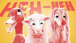 Tre stiliserade djur skrattgråter framför en bakgund där det står HEH-HEH.