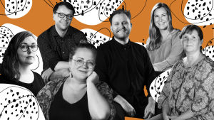 Fotocollage av Svenska Yles kulturjournalister: Kia Svaetichin, Lasse Garoff, Marit Lindqvist, Anne Hietanen, Elin Willows och Jonas Forsbacka
