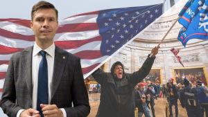Montage av tre bilder. I bakgrunden syns USA:s flagga och en man som håller i en Trumpflagga inne i kongressen. Vid sidan i en bild står en man i kostym och tittar in i kameran.