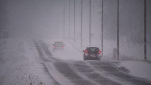 Två bilar kör längs landsväg i snöstorm