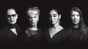 Neljä naistaiteilijaa katsoo kameraa. Body of Truth -dokumenttelokuvan key image.