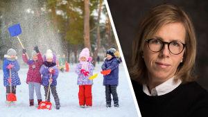 Bildmontage av två bilder. Till vänster syns barn som leker ute i snön. Till höger syns en kvinna som tittar in i kameran. Hon bär glasögon, en svart tröja och en vit skjorta där under.