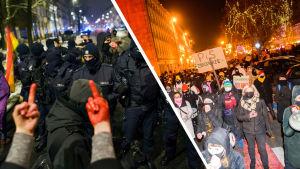 Collage av två bilder. Till vänster en person som håller upp långfingrarna till poliser i Polen, till höger människor som demonstrerar.