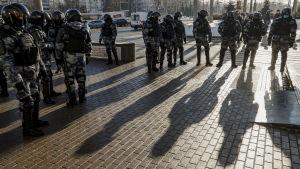 Kravallpoliser på plats i Moskva