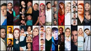Melodifestivalens alla 28 artister i egna bildrutor