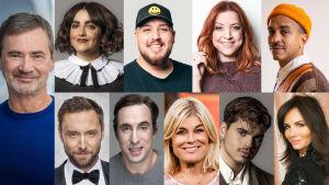 Bildrutor på alla 10 programledarna i Melodifestivalen 2021