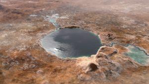 Meteoritkratern Jezero på Mars på den tiden då den inhyste en sjö.