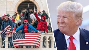 Collage av två bilder. Till vänster syns Donald Trump-anhängare utanför Capitolium 6.1.2021. Till höger syns Donald Trump som tittar åt sidan och ler.