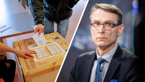 Collage av två bilder. Till vänster en person som röstar i val, till höger Justitiekansler Tuomas Pöysti.