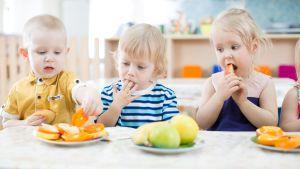 Kolme pientä lasta syö välipalaa pöydän ääressä päivähoidossa.