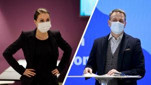 Collage av två bilder. Till vänster statsminister Sanna Marin i munskydd, till höger Helsingfors borgmästare Jan Vapaavuori i munskydd.