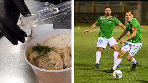 Ett fotocollage med hämtmat till vänster och en fotbollsspelare från EIF till höger.