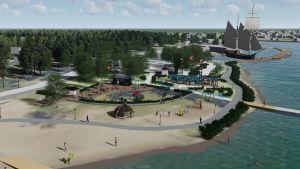 Skiss över den planerade parken i Gamla hamn.