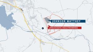 Kartgrafik över Långskogens industriområde, där Johnson Mattheys tomt finns inritad.