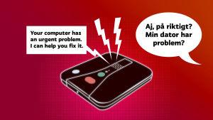 En illustrerad bild på en trygghetstelefon med en engelskspråkig pratbubbla ur telefonen och en svenskspråkig pratbubbla vid sidan om telefonen.