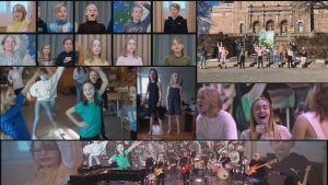 Delad skärm med massor av bilder på skolbarn som spelar och sjunger i kör.