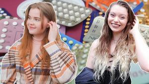 Bildmontage av flera bilder. I bakgrunden syns flera p-pillerkartor. I förgrunden är Julia Halttunen och Amanda Öhberg Dias inklippta i bilden.