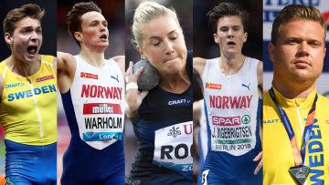 Fem nordiska superstjärnor i VM i friidrott 2019.