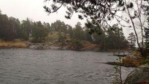 Havsviken som går till Kjell Österbergs stuga på Fårbässen i Ekenäs skärgård